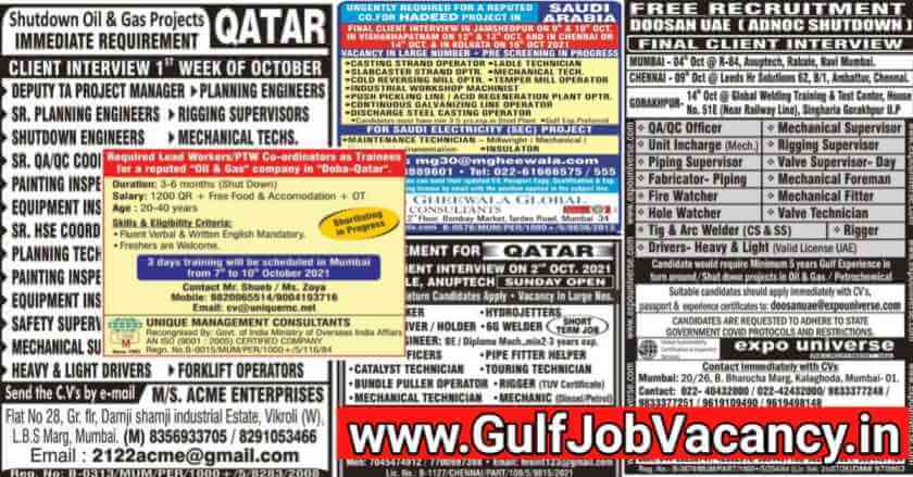 Gulf Job Interviews Across India